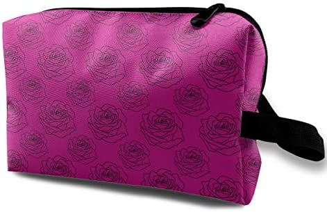 赤紫のバラ模様 黒縁 化粧ポーチ メイクポーチ コスメポーチ 小物入れ 洗面用具 化粧品収納 トイレタリーバッグ 吊り下げ コンパクト 大容量 普段使い 出張 旅行 かわいい おしゃれ プレゼント