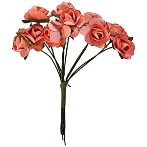 Kaisercraft F667 0.5-Inch Mini Paper Flowers Bloom with Wire Stems, Coral, 10-Pack 119