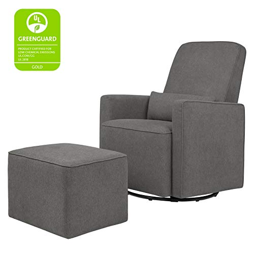 DaVinci Olive Upholstered Swivel Glider with Bonus Ottoman, Dark Grey
