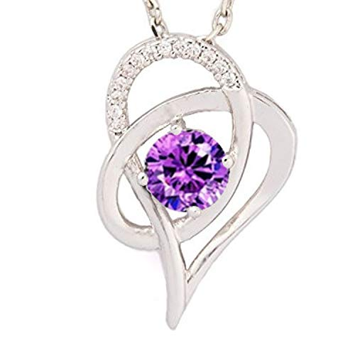 SJS Collection Sterling Silver Double Heart Necklace. Rhodium Plated w/ 14 AAA Cubic Zirconia Diamonds. 18