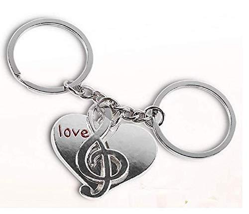 Conjunto de Dos llaveros Hombre Amor Idea de Regalo Unisex Mujer Nota Musical Love Coraz/ón
