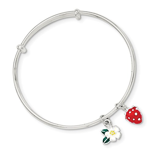 ICE CARATS 925 Sterling Silver Enamel Kids Flower Strawberry Bangle Bracelet Cuff Expandable Stackable Fine Jewelry Ideal Mothers Day Gifts For Mom Women Gift Set From Heart