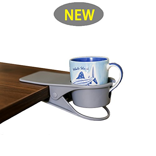 Supercope New Drinking Cup Holder Clip- Table Bottle Cup Stand The DIY Glass Clamp Storage Saucer Clip Water Coffee Mug Holder Saucer Clip Design for Home & Office,Gray