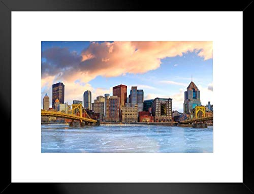 Poster Foundry Downtown Pittsburgh Skyline Frozen River Skyline Sunrise Photo Matted Framed Wall Art Print 26x20 inch