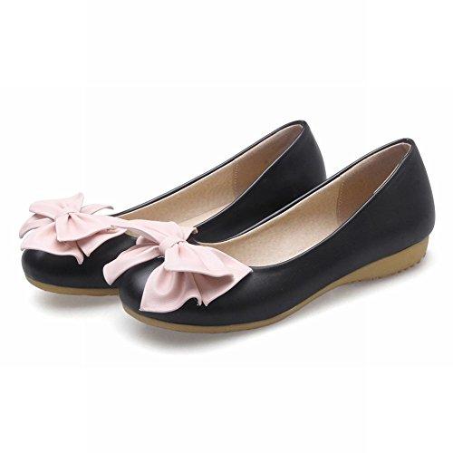 Carolbar Womens Bows Elegance Comfort Lolita Cute Sweet Flats Shoes Black 1w2m9EP