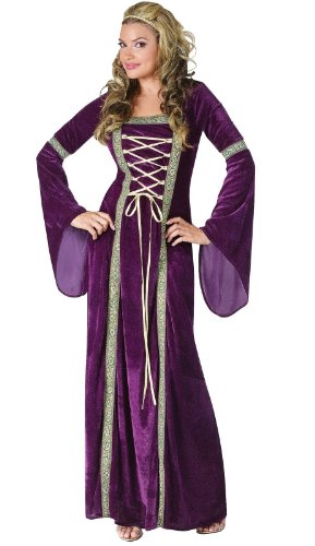 [Fun World Women's Deluxe Renaissance Lady, Purple, Medium/Large 10-14] (Renaissance Queen Adult Costumes)