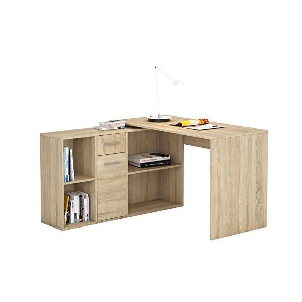 IDIMEX Bureau d'angle Carmen Table avec Meuble de Rangement intégré et modulable avec 4 étagères 1 Porte et 1 tiroir…