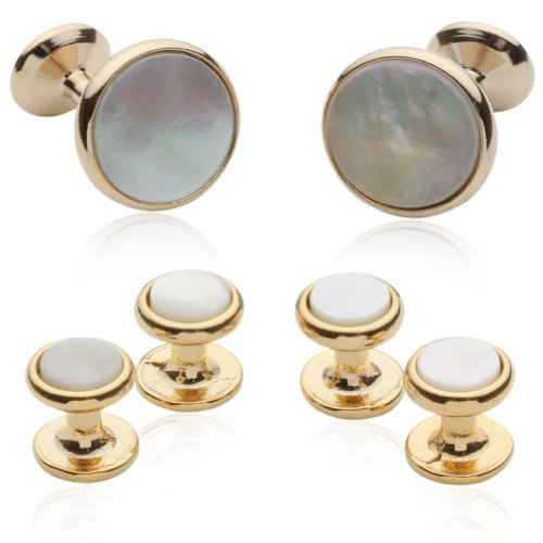 Mens Mother Of Pearl (Mother of Pearl and 14kt Gold Overlay Cufflinks and)