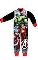 Boys Licensed Avengers Capt America Hulk Ironman Micro Fleece Onesies Age 3 to 8 Years
