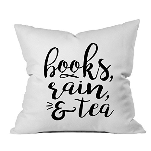 Oh, Susannah Books, Rain, & Tea Book Lovers Writers Author Gifts 18x18 Inch Throw Pillow Cover