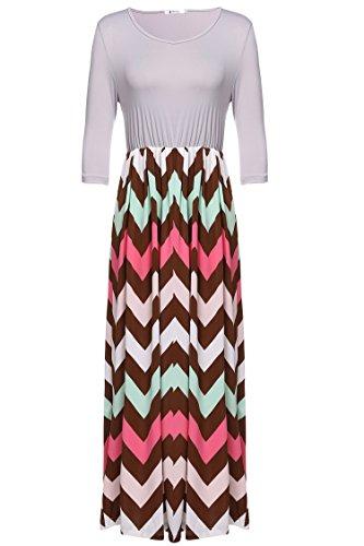ANGVNS Womens Chevron Sleeve Dress