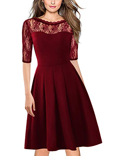 Fit and Flare Lace Dress for Women Chic 60s Elegant A Line Wedding Party Ladies Church Dresses Special Occasions with Sleeve 156 (XL, Red Wine)