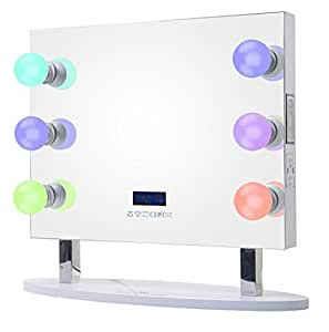 ReignCharm 6-Smart LED Light Bulbs Hollywood Vanity Mirror with Bluetooth Speakers, 26-inches Wide by 25.5-inches high