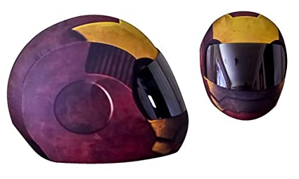 SkullSkins Iron Head Motorcycle Helmet Street Skin (Red/Gold)