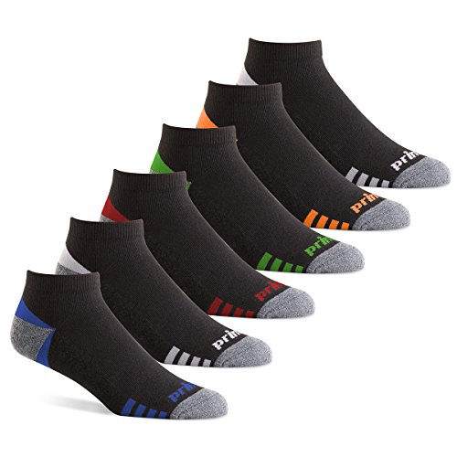Prince Men's Low Cut Performance Socks for Running, Tennis, and Casual Use (6 Pair Pack) (Men's Shoe Size 12-16 (US), Black) ()