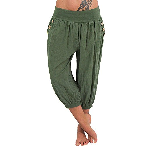 Women Elastic Waist Boho Check Pants Baggy Wide Leg Summer Casual Capris GN/S