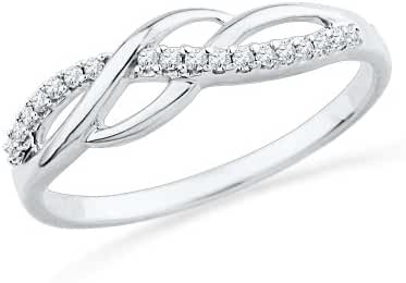 Sterling Silver Round Diamond Twisted Fashion Ring (1/10 cttw)