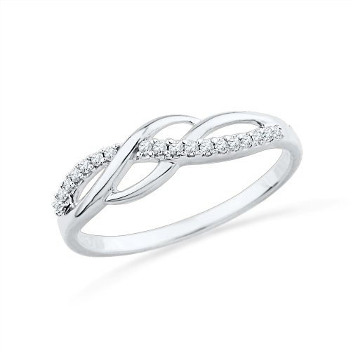 Sterling Silver Round Diamond Twisted Fashion Ring (1/10 - Round Silver Diamond Ring