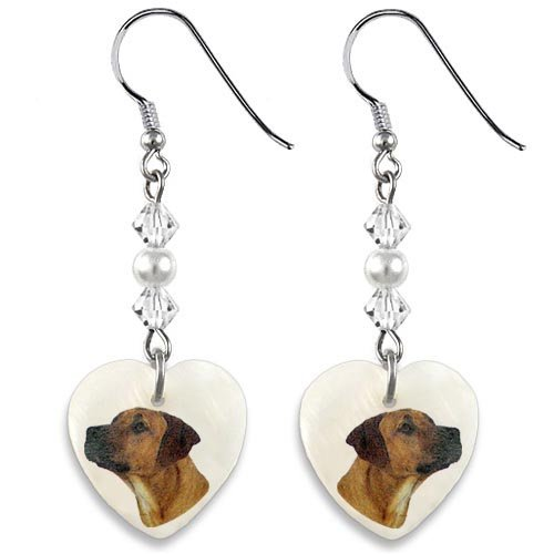 Timest Rhodesian Ridgeback Mother Of Pearl Heart (Rhodesian Ridgeback Earrings)