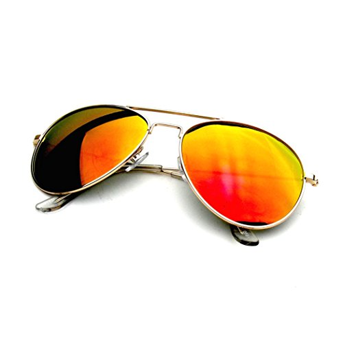 Emblem Eyewear - Premium Classic Metal Frame Reflective Revo Mirror Lens Aviator Sunglasses (Gold Red - Ray Cheap For Bans Prices
