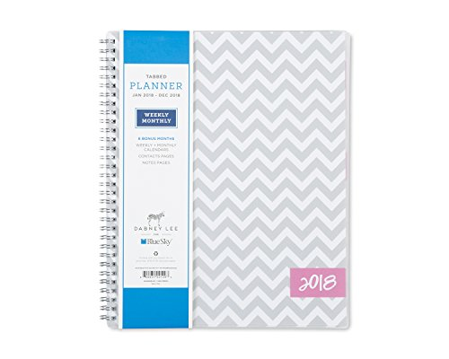 """Blue Sky 2018 Weekly & Monthly Planner, Twin-Wire Binding, 8.5"""" x 11"""", Gray Ollie -  102129"""
