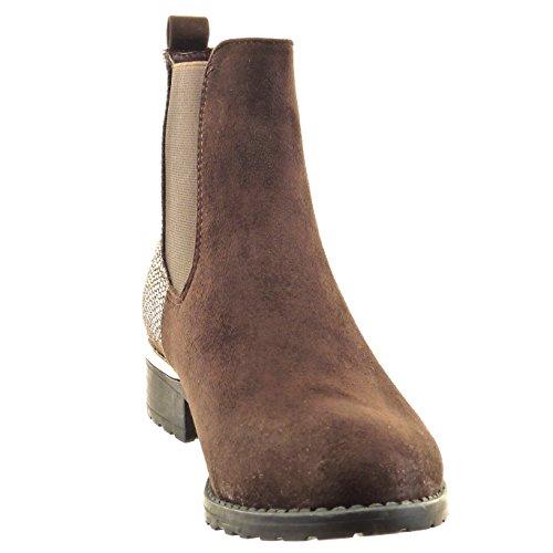 a CM boots di caviglia Stivaletti Scarpe serpente alla Moda Tacco da Scarponcini pelle Marrone donna 3 5 chelsea Sopily blocco Uq6nSA1ww