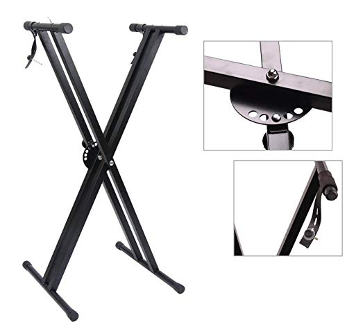 Great Features Of Double X Keyboard Stand, Adjustable Portable Piano Keyboard Stand with Locking Straps (A -Double Keyboard Stand)