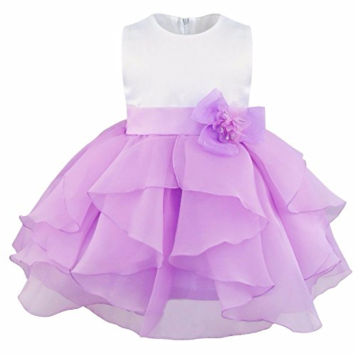 FEESHOW Baby Girls Organza Ruffle Wedding Party Christening Baptism Flower Dress Lavender 9-12 (Christmas Pageant Dresses)