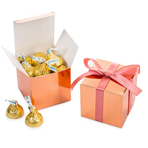 Rose Gold Gift Candy Box Bulk 2x2x2 inches with Vintage Pink Ribbon Party Favor Box,Pack of 50 ()