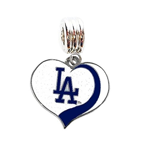La Dodgers Pendant (LA LOS ANGELES DODGERS BASEBALL TEAM HEART CHARM SLIDE PENDANT FOR NECKLACE EUROPEAN CHARM BRACELET (Fits Most Name Brands) DIY ETC)