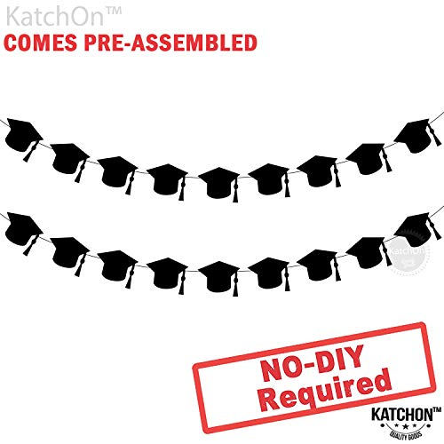 KatchOn Graduation Hat Decorations Garland - Assembled - Black Graduation Party Supplies 2019 - Graduation Party Decorations - Cute and Unique for Table, Mantle | 2 Strands | No DIY | Felt Banner ()