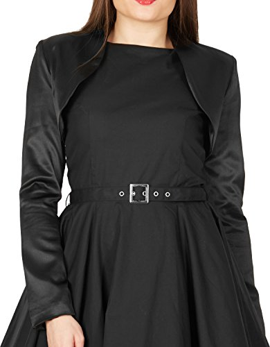 BlackButterfly Formal Satén Manga Larga Bolero Negro