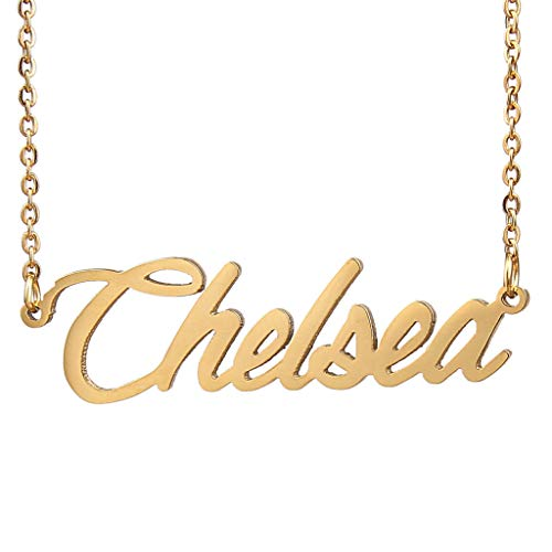 Chelsea Gold Bracelet - AIJIAO 18k Gold Plated Script Nameplate Name Necklace Personalized Choker Women Gift/Chelsea Gold