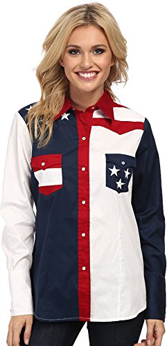 Roper Women's Pieced Stars and Stripes Patriotic Blue - Shirt Roper Embroidered