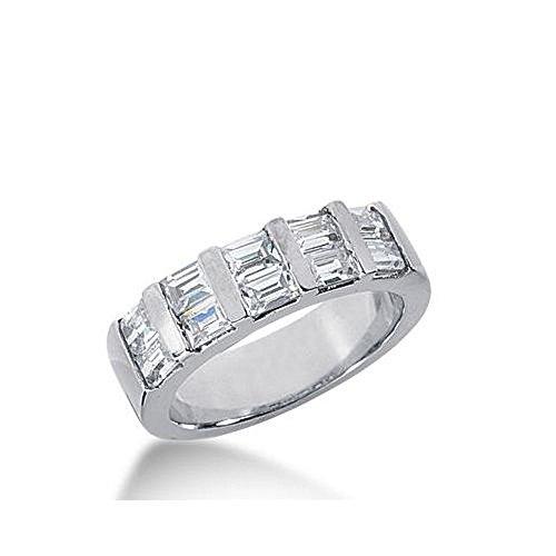 18k Gold Diamond Anniversary Wedding Ring 10 Straight Baguette Diamonds 1.20ctw 341WR148518K - Size 8.5 (Diamond Band Baguette Straight)