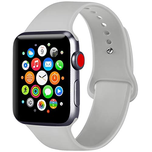 ATUP Compatible with for Apple Watch Replacement Band 38mm 40mm 42mm 44mm Women Men, Soft Silicone Band Compatible with for iWatch Series 4, 3, 2, 1 (Gray, 42mm/44mm-M/L)