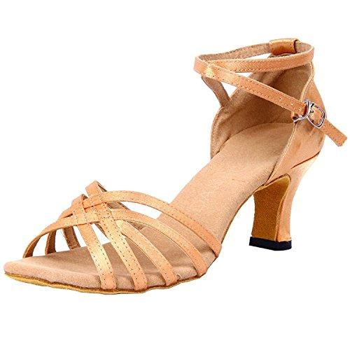 Classic Satin Straps Peep-toe Salsa Tango Latin Dance Party Shoes for Women(8.5, Nude)