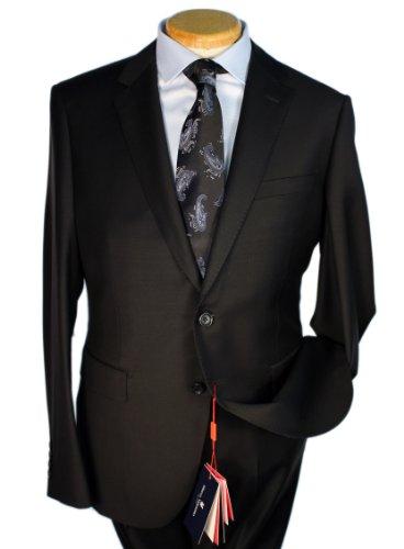 (Marco Valentino Solid Black Slim Cut Men's Suit - Size: 44 Short)