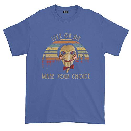 Zoko Apparel Men's Live Or Die Make Your Choice Vinatge T-Shirt (3XL, Royal Blue) -