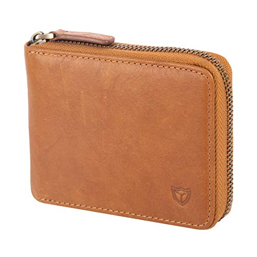 (Mens Genuine Leather Zipper Wallet, Upgrade RFID Blocking, Multi Card Holder Purse with Bifold ID Window and Coin Pocket (brown) )