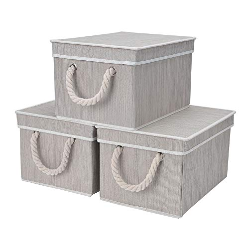 StorageWorks Decorative Storage Bins for Shelves, Storage Baskets with Lids and Cotton Rope Handles, Mixing of Gray, Brown & Beige, Large, 3-Pack