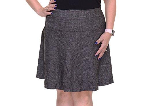 Black Tweed Skirt (Kensie Womens Tweed Plaid A-Line Skirt Black L)