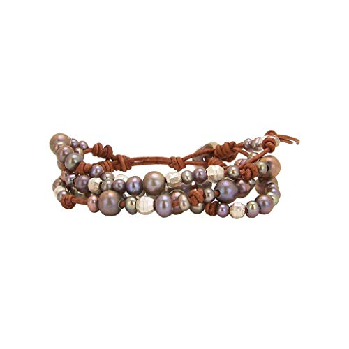 Chan Luu Multi Strand Cuff Bracelet in Purple Pearls Indian Beads and Silver ()