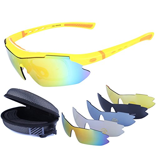 Polarized Sports Sunglasses Cycling Baseball Running Fishing Driving Golf Hiking Biking Outdoor Glasses with 5 Interchangeable Lenses Motorcycle Bicycle Riding Goggles for Men Women (yellow & orange) by LOVE'S