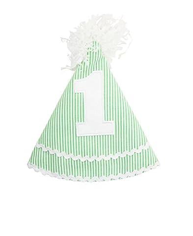 RuffleButts Infant / Toddler Girls Striped Seersucker Birthday Hat - Green Seersucker - One Size - Striped Seersucker Cap