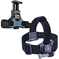 Action Camera Accessories Bundle Set by USA Gear with Head Strap Mount and Smartphone Tripod / Action Cam Mount Adapter - Works with Phones by Apple , Samsung , LG , Motorola & More