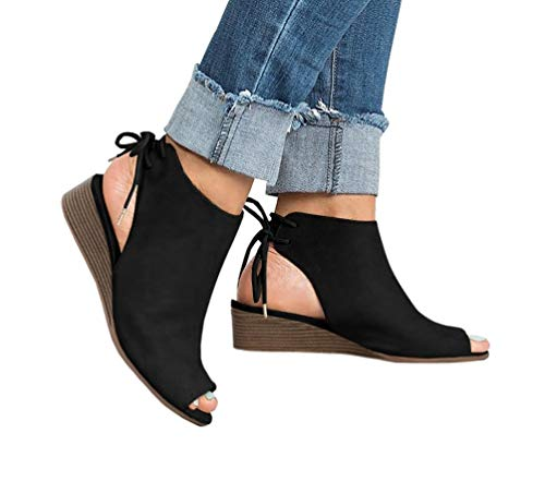 Ruanyu Womens Peep Toe Booties Cutout Slingback Lace Up Back Heeled Wedge - Toe Slingbacks Leather Peep