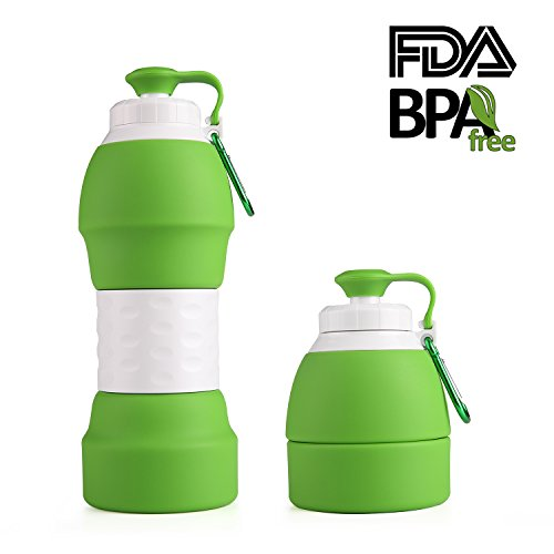 Collapsible Travel Water Bottle, BPA Free Silicone Drinking Mug, Reusable 19.8oz Compact Tea Cup(Green)