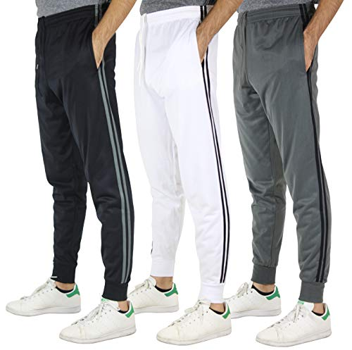 Real Essentials 3 Pack Men's Tricot Casual Active Athletic Training Gym Workout Track Pants Jogger Sweatpants Fleece Tapered Slim Fit,Set 3-XXL