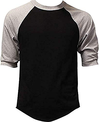 DealStock Casual Raglan Tee 3/4 Sleeve Tee Shirt Jersey Black/Heather Gray